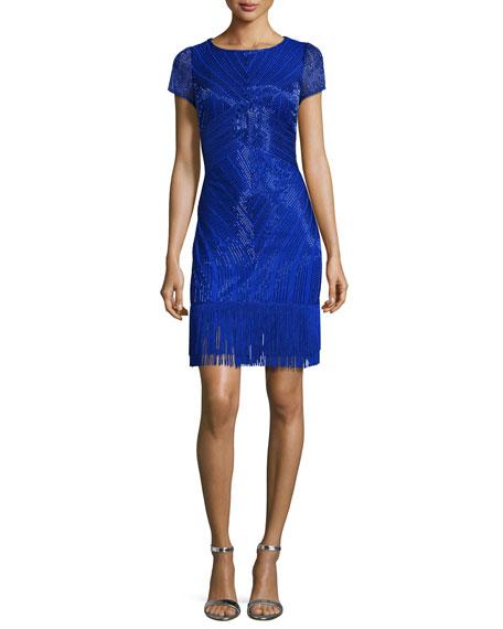 Short-Sleeve Beaded Fringe-Trim Cocktail Dress, Cobalt