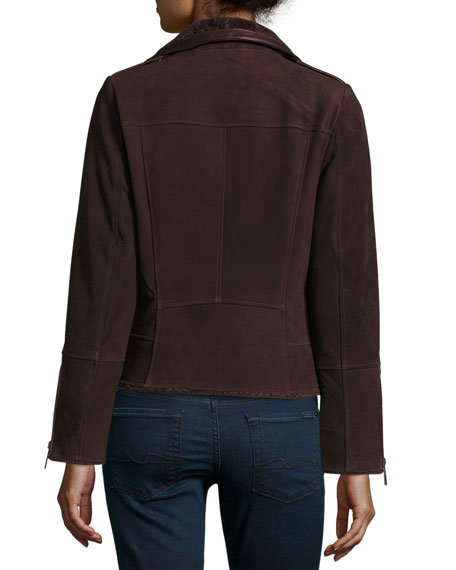 Suede Moto Jacket w/ Shearling Collar, Bordeaux