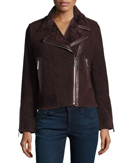 Suede Moto Jacket w/ Shearling Collar, Bordeaux
