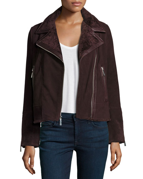 Neiman Marcus Suede Moto Jacket w/ Shearling Collar,