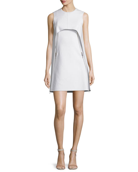 Bib-Front Sleeveless Shift Cocktail Dress, Ivory