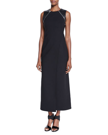 Kaufman Franco Leather-Trim Sleeveless Maxi Dress, Onyx