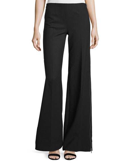 Kaufman Franco Wide-Leg Side-Zip Pants, Onyx