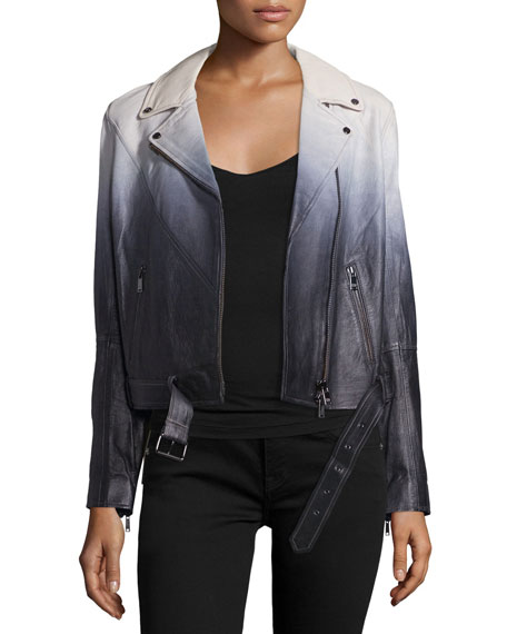 Haute Hippie Lamb Leather Ombre Jacket, Swan/Black