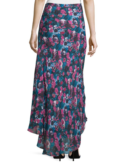 High-Low Asymmetric Floral-Print Silk Skirt