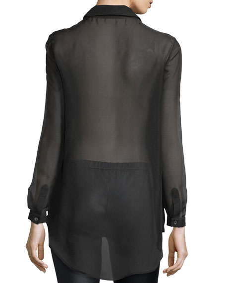 Pleated-Front Sheer Silk Tux Blouse, Black