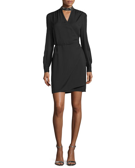 Haute Hippie Long-Sleeve Embellished Wrap Dress, Black