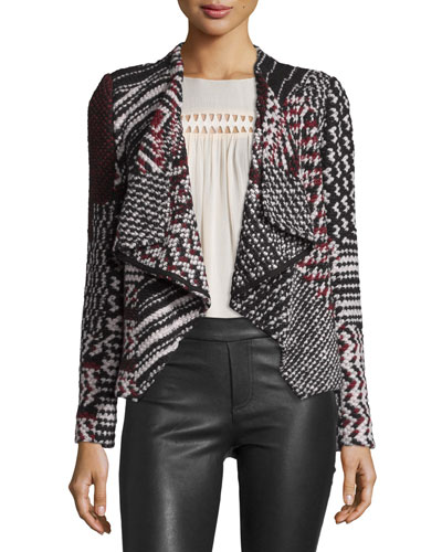 Ilda Mixed-Weave Open-Front Jacket