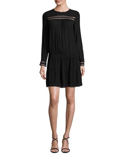 ba&sh Jolie Long-Sleeve Dropped-Waist Dress, Noir