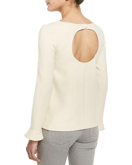 Daring Ruffle-Sleeve Top, Cream