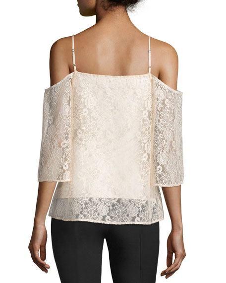Tusk Cold-Shoulder Floral-Lace Top, Peach