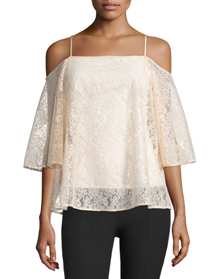 Bailey 44 Tusk Cold-Shoulder Floral-Lace Top, Peach