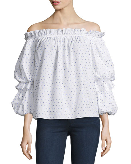 Caroline ConstasGia Off-The-Shoulder Swiss Dot Top
