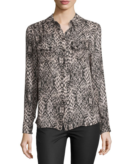 Haute Hippie Snakeskin-Print Long-Sleeve Silk Blouse