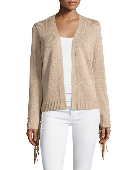 Haute Hippie Long Sleeve Fringe Trim Cardigan, Nude