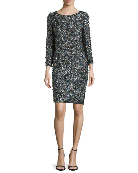 Haute Hippie 3/4-Sleeve Mosaic Sequin Dress