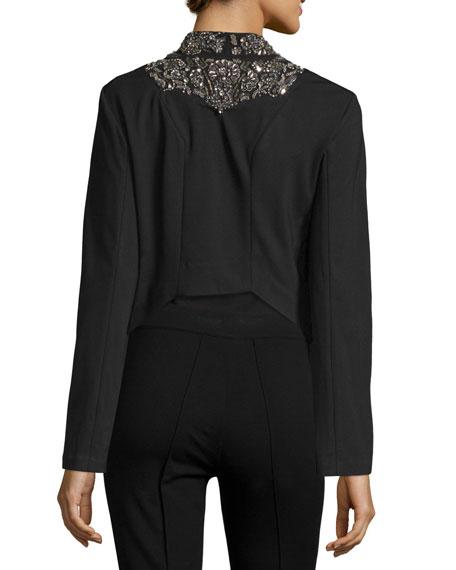 Embellished-Lapel Ponte Jacket