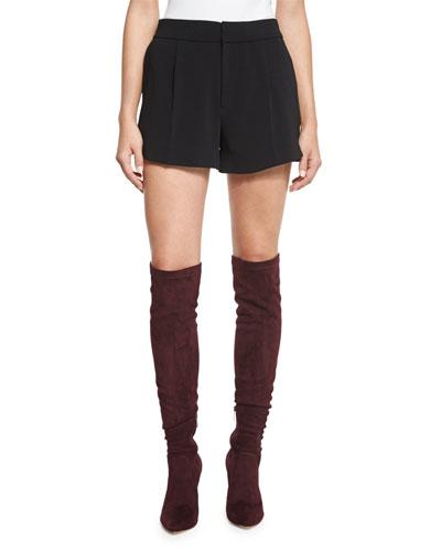 Hanne Stretch-Crepe Shorts, Caviar