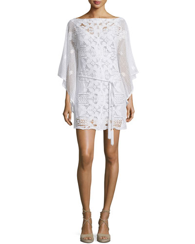 Claudia Crochet & Floral Lace Coverup Dress, Pure White