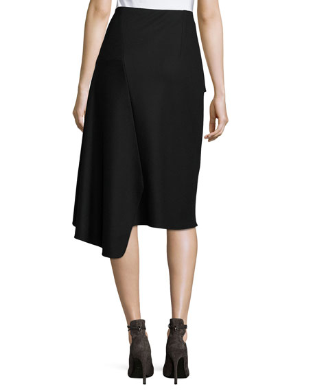 Inessa Faux-Wrap Pencil Skirt with Ruffled Overlay, Black
