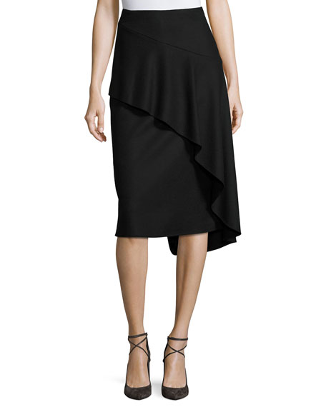 Kobi Halperin Inessa Faux-Wrap Pencil Skirt with Ruffled