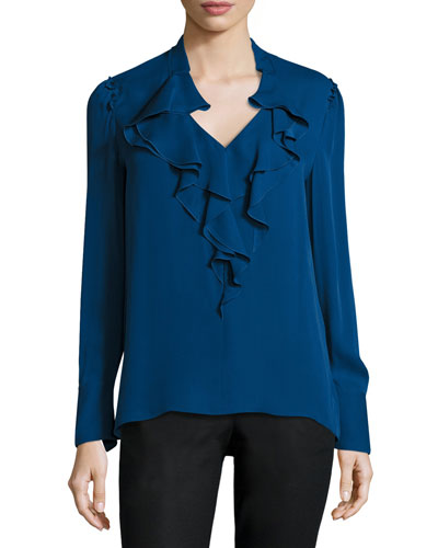 Marina Long-Sleeve Ruffle-Trim Silk Blouse, Cadet Blue