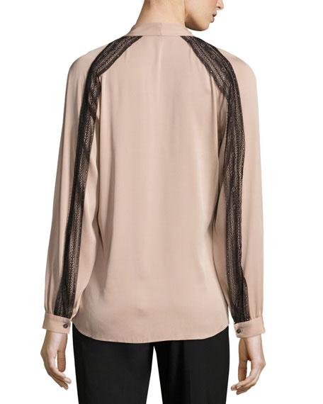 Nori Lace-Trimmed Long Raglan-Sleeve Silk Blouse, Taupe