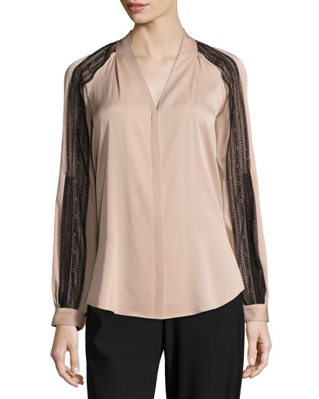 Nori Lace-Trimmed Long Raglan-Sleeve Silk Blouse, Taupe
