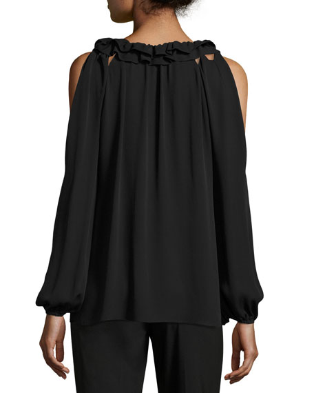Kayla Ruffled Jewel-Neck Cold-Shoulder Silk Blouse, Black