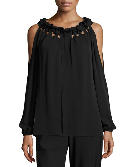 Kobi Halperin Kayla Ruffled Jewel-Neck Cold-Shoulder Silk Blouse,