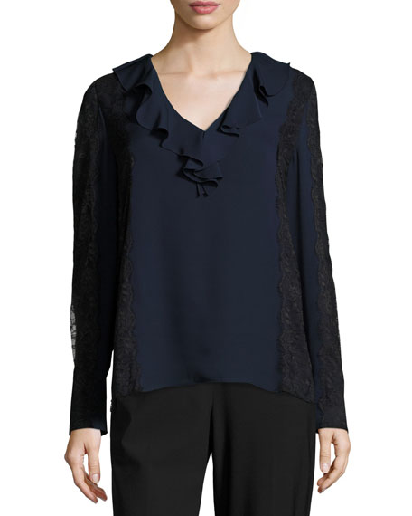 Harper Lace-Trimmed Ruffled V-Neck Silk Blouse, Midnight Blue