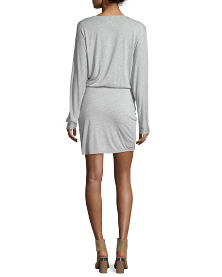 Wrap-Style Long-Sleeve Jersey Mini Dress