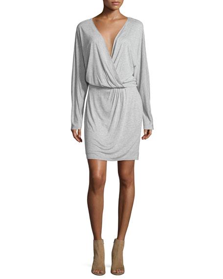 Haute Hippie Wrap-Style Long-Sleeve Jersey Mini Dress