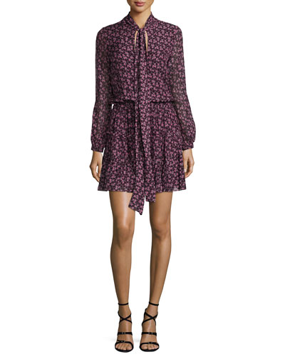 Elida Long-Sleeve Tie-Neck Printed Silk Dress, Plum