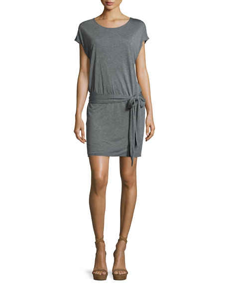 Haute Hippie Draped Open-Back Jersey Mini Dress, Gray