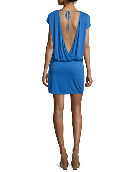 Draped Open-Back Jersey Mini Dress, Blue