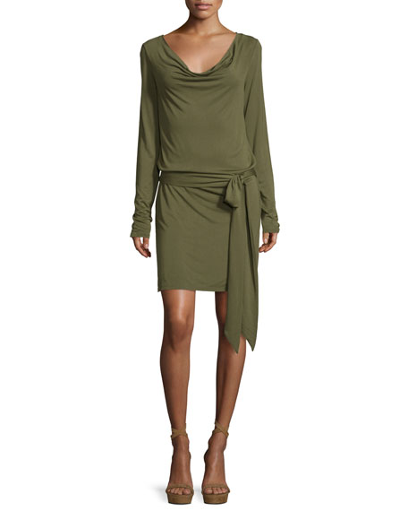 Haute Hippie Cowl-Neck Open-Back Jersey Mini Dress, Olive
