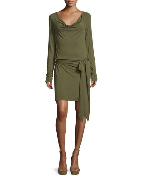 Haute Hippie Cowl-Neck Open-Back Jersey Mini Dress, Olive