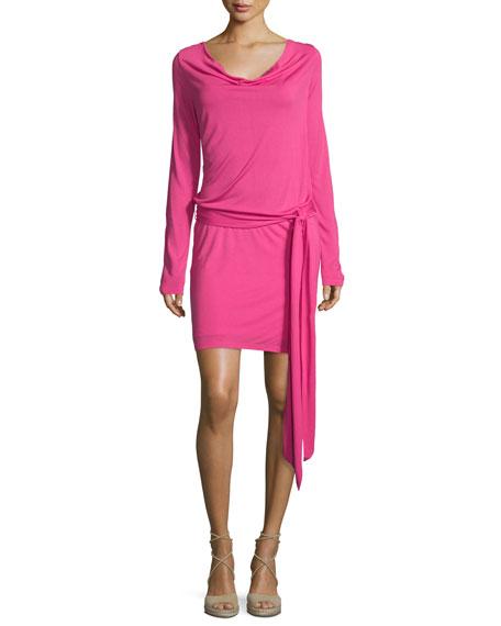 Cowl-Neck Open-Back Jersey Mini Dress, Bright Pink