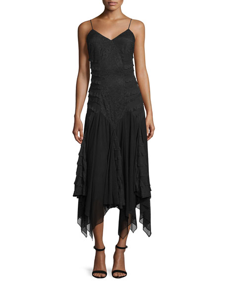 Haute Hippie Marty's Girlfriend Silk Handkerchief Dress, Black