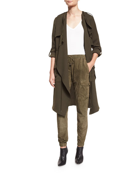Paneled Suede Cargo Pants, Military