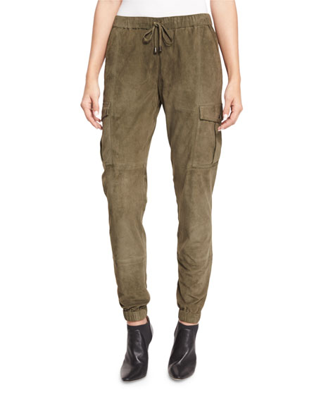 Haute Hippie Paneled Suede Cargo Pants, Military