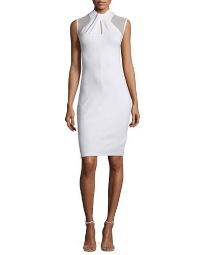 Tania Sleeveless Sheath Dress, White