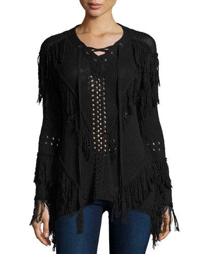Fringe Open-Knit Lace-Up Sweater