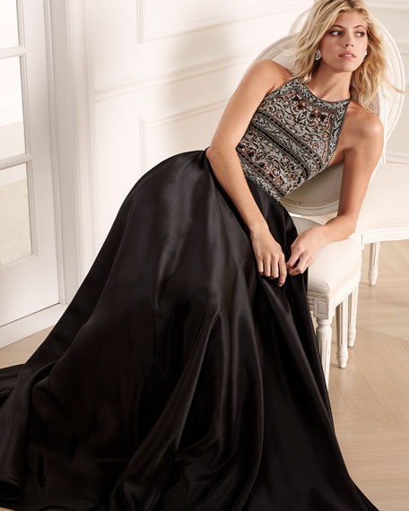 Beaded Racerback Ball Gown, Black/Silver