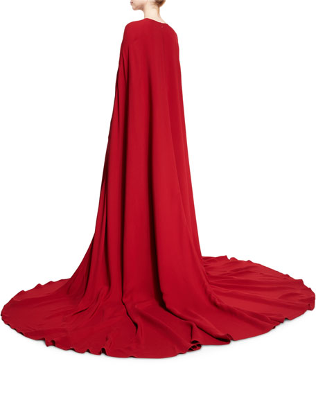 Cutout Silk Crepe Gown w/Cape, Red