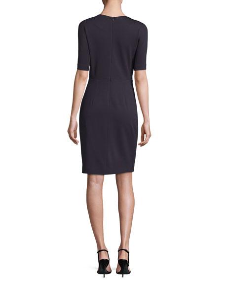 Short-Sleeve V-Neck Ponte Sheath Dress, Navy