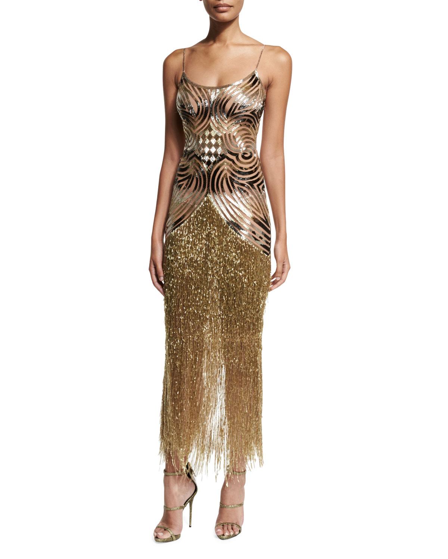 Fringe Gold Dress Naeem Khan
