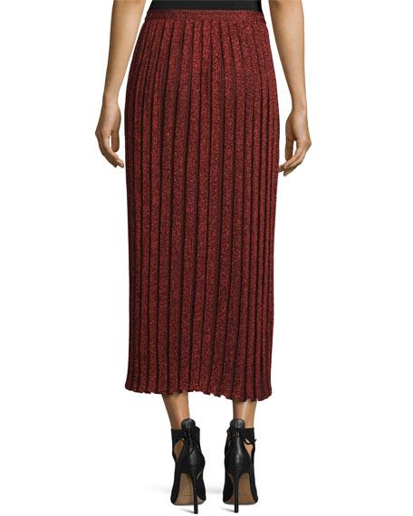 Pleated Metallic Midi Skirt, Red