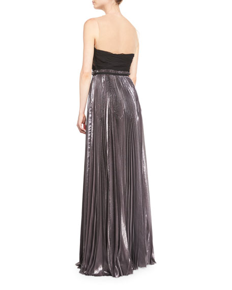 Strapless Pleated Silk Gown With Illusion Neck, Anthracite
